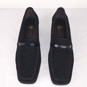 Stuart Weitzman Suede Black Perforated Loafers(6)